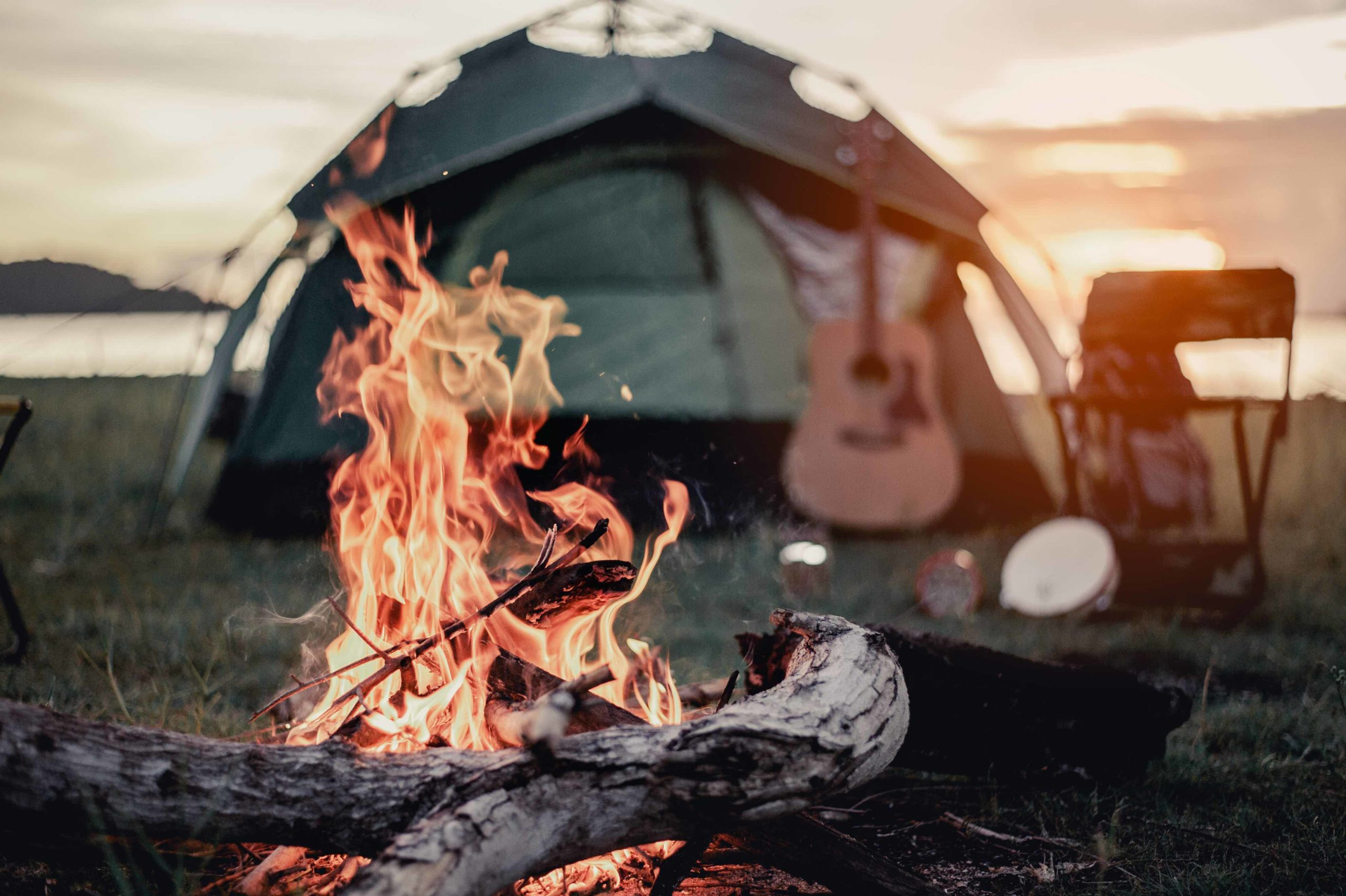 Campfire and tent